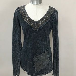 Vocal Marble Gray Embellished Long Sleeve Top L